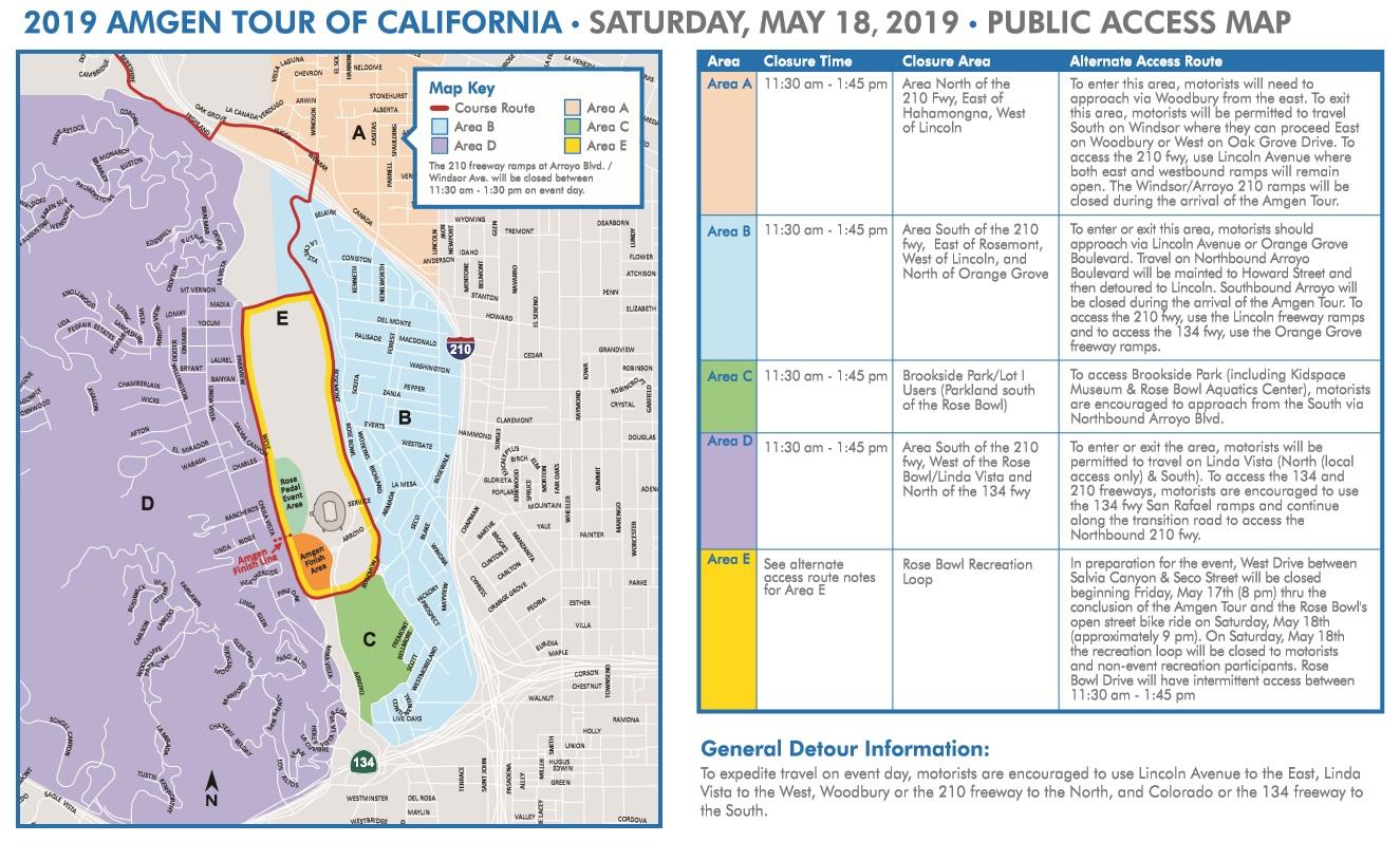 Amgen Tour of California Pasadena public access map
