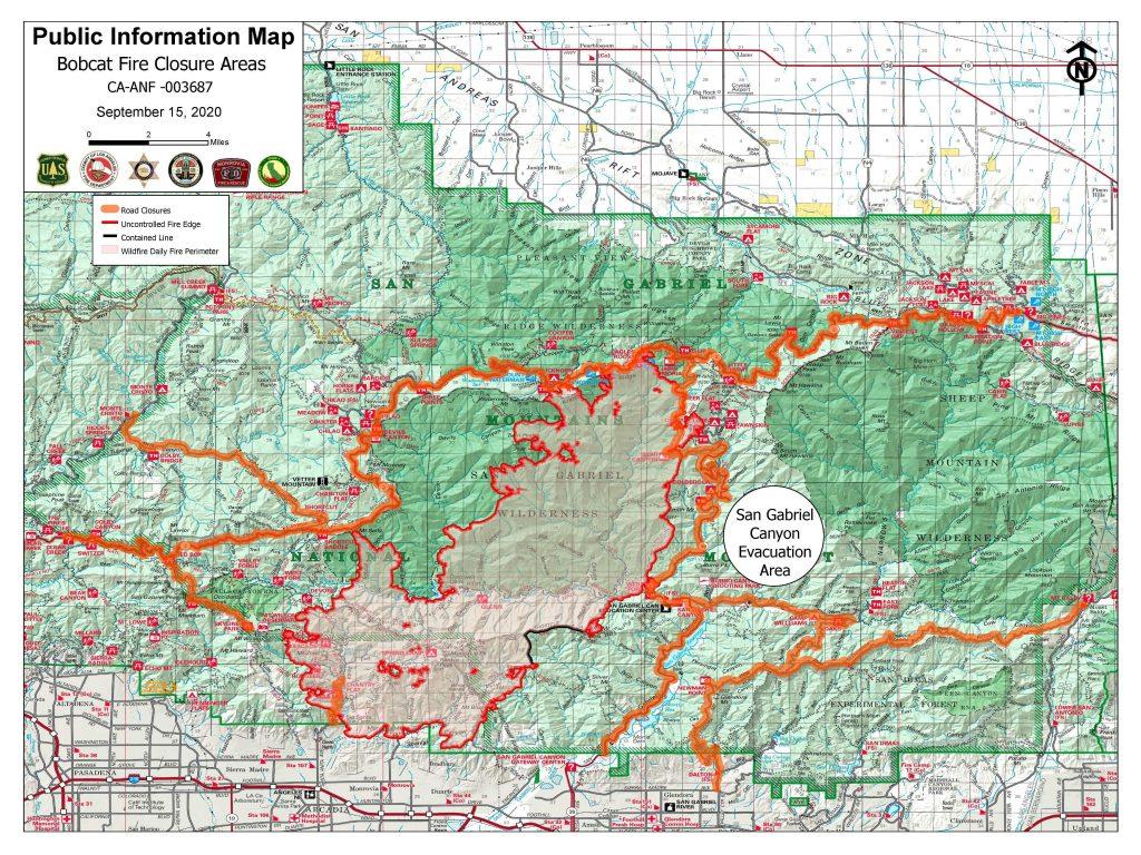 Bobcat Fire Map - 09.15.20
