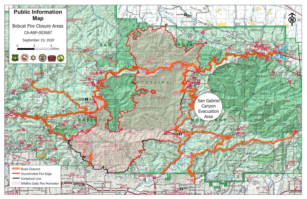 Bobcat Fire map, September 19, 2020