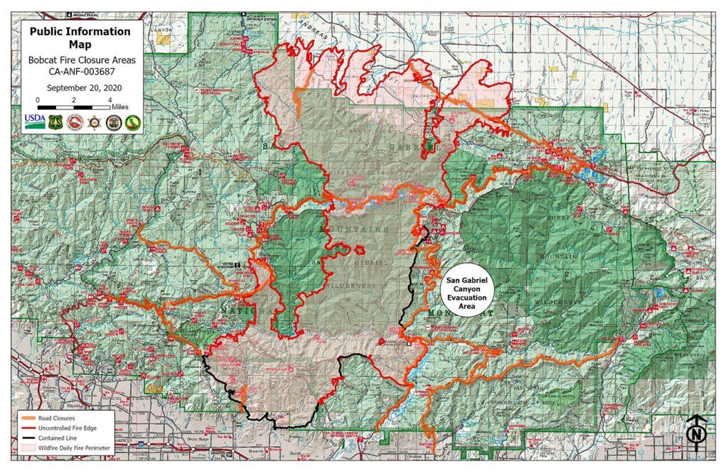 Bobcat Fire map, September 20, 2020