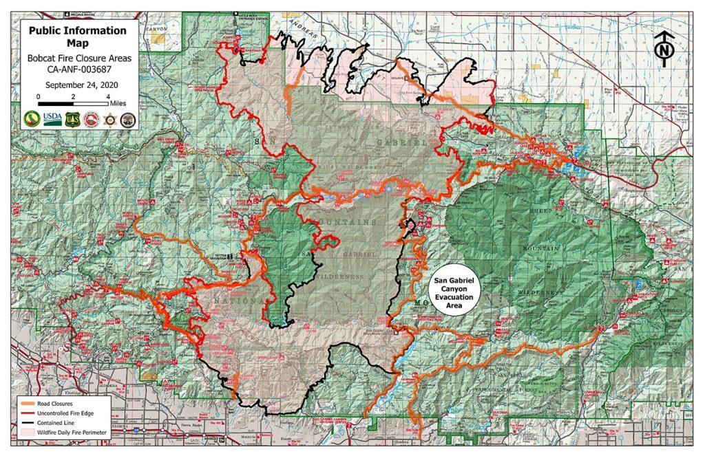 Bobcat Fire map - September 24, 2020
