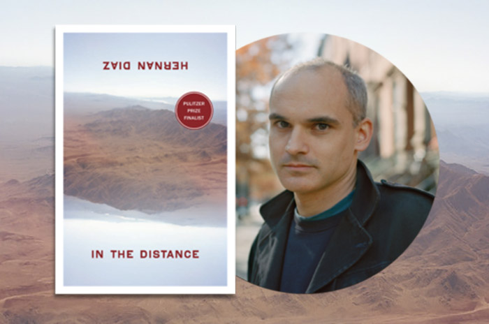 Photo of Hernán Diaz and 'In the Distance' book cover