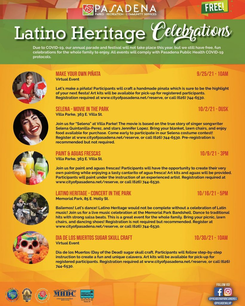 Latino Heritage Celebration event listings - English flier