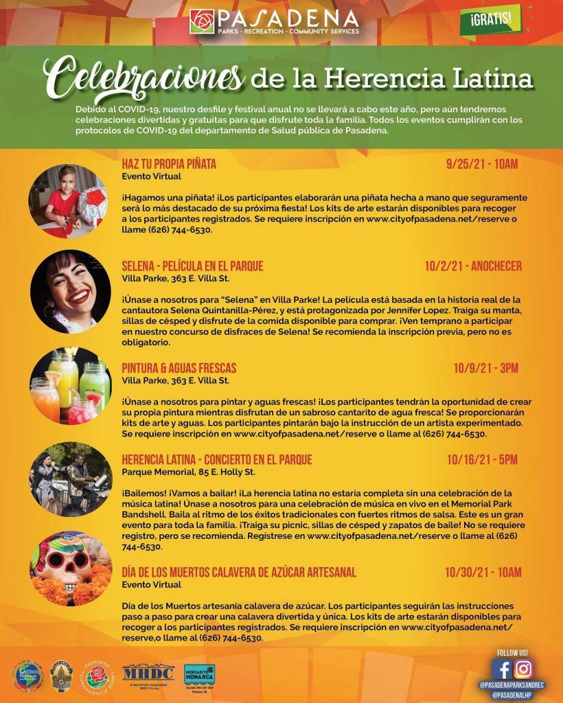 Latino Heritage Month Celebration event listings - Spanish flier