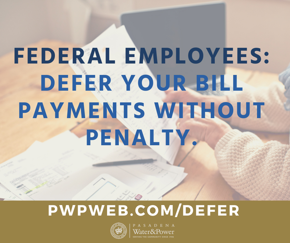 Pasadena Water and Power offering bill payment deferral to federal employees