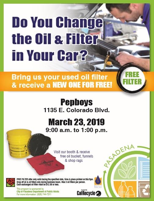 oil filter exchange event flyer