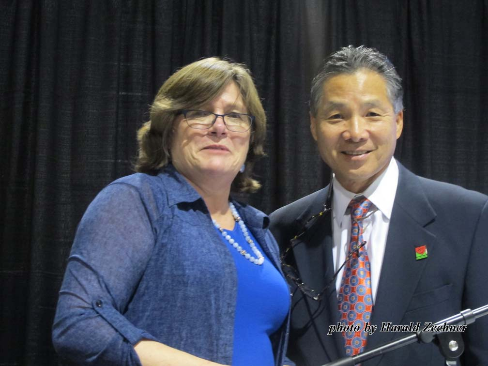Councilmember Gene Masuda and Lucy Jones