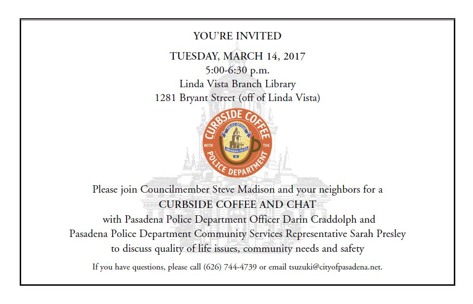 Curbside Coffee and Chat - March 14, 2017
