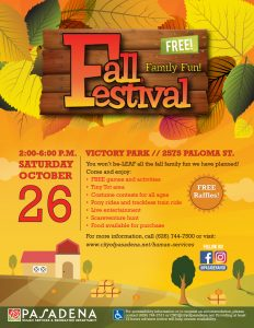 Fall Festival flyer design with large leafs and orange sky