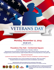 Veterans Day flyer with US Flag in the background and vectors