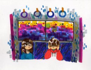 painting with image of two children on a bus or train with one child looking up and the other with eyes closed and hands on sides of face
