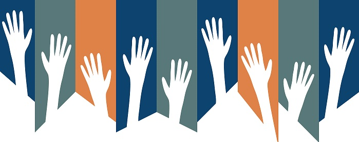 image of raised hands against colorful background