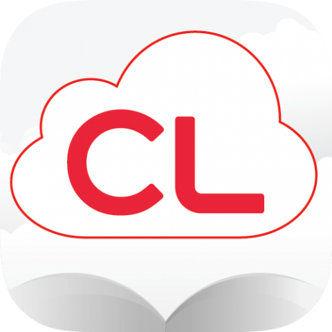 "Cloud Library logo: open book with red outlined cloud and ""CL"" inside cloud"