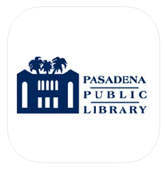 """stylized image of Central Library building with 3 palm trees and """"Pasadena Public Library"""" in deep blue on white background"""