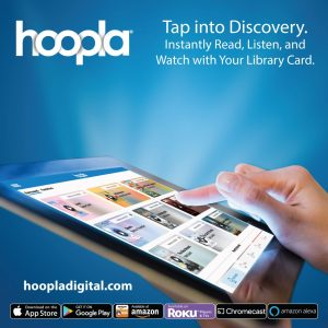 hoopla promotional image: tablet with content and a hand with finger tapping