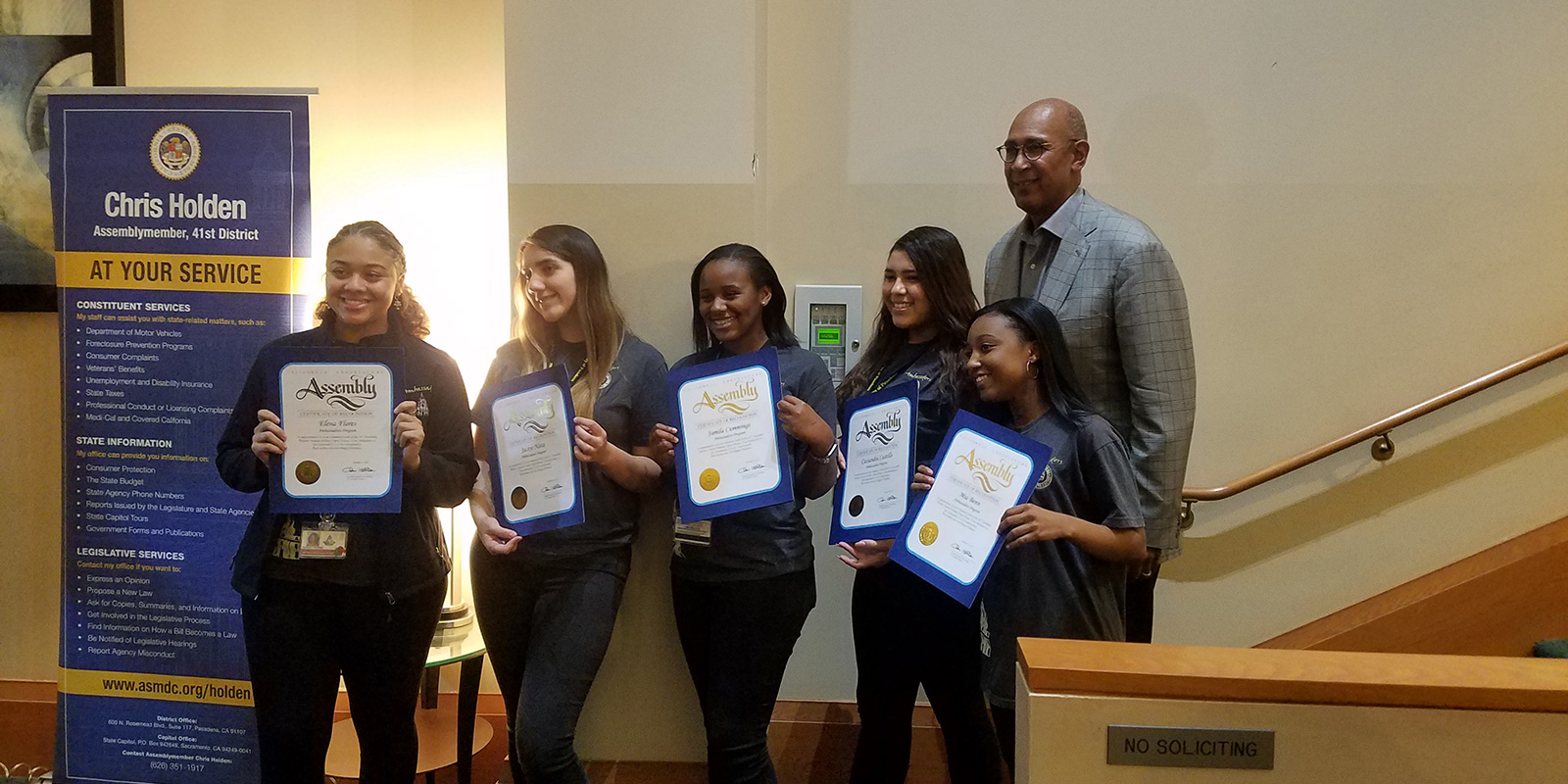 Youth Ambassadors with Assembly member Chris Holden