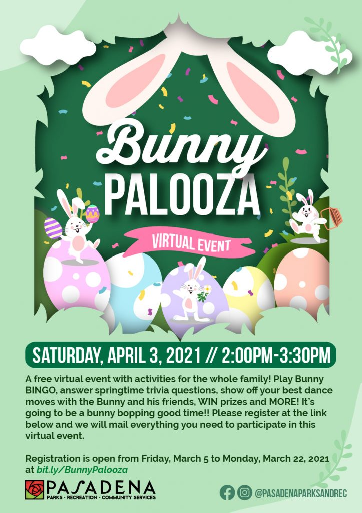 Bunny Palooza flyer with dancing bunnies and colorful eggs