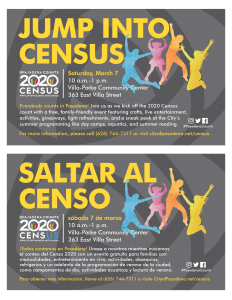Jumo into Census - Half flyers with gray background and a silhouette of people jumping