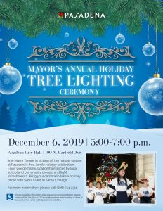 Mayors Annual Holiday TreeLighting Ceremony woth blue background and clear ornaments