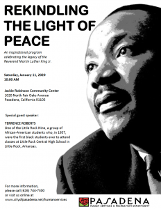 Rekindling The Light Of Peace flyer using a black and white image of Martin Luther King Jr.