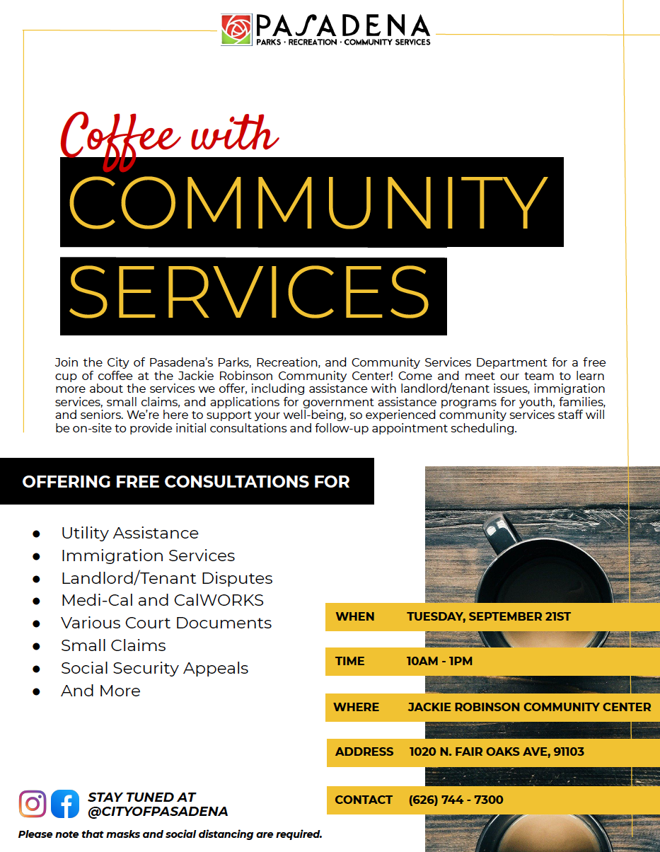 Coffee with Community Services - Details in event description
