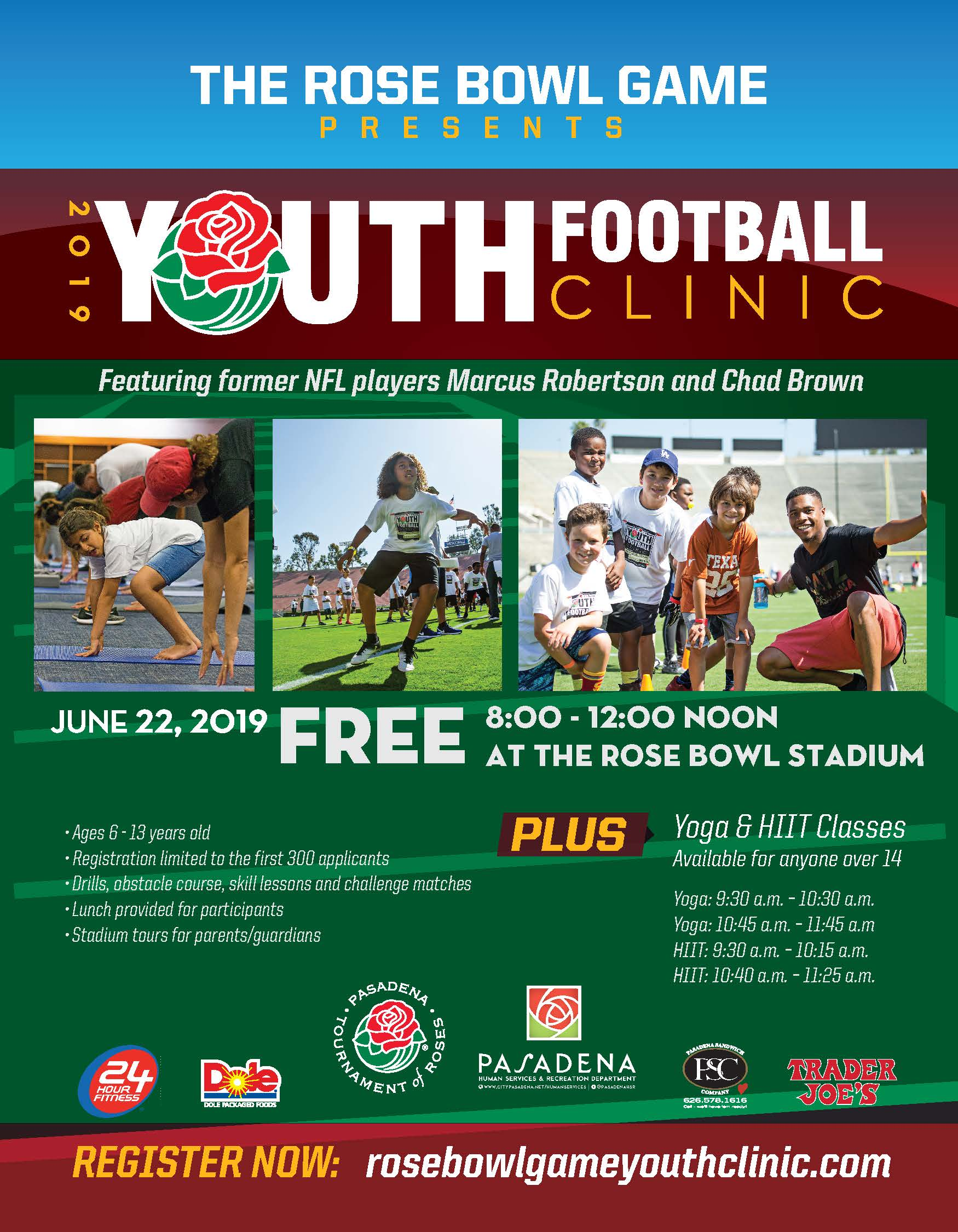 rose bowl game youth football clinic