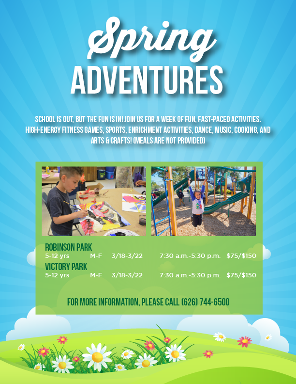 Adventures Spring Flyer with spring themed graphics of flowers, clouds, and sky