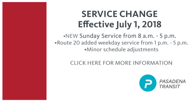 New Sunday Service and Schedule Changes Effective July 1