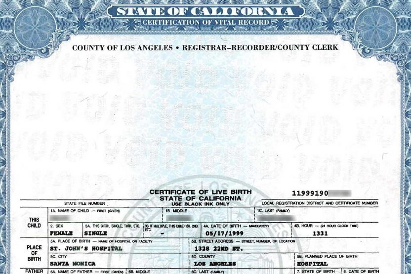 California Birth Certificate replacement