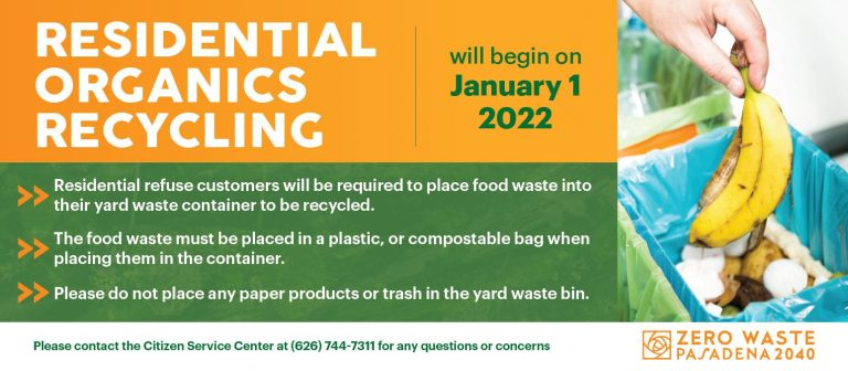Flyer notifying organic recycling requirement effective Jan 1 2022