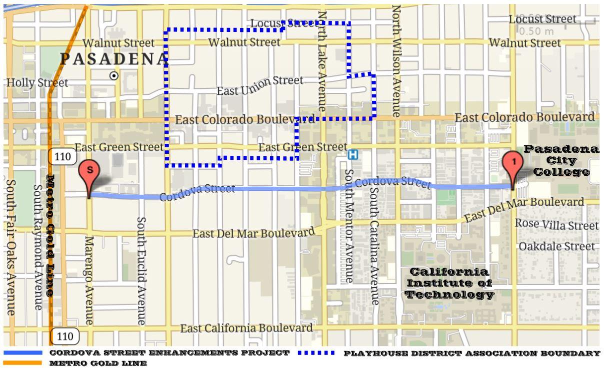 Cordova Street Enhancements Project Limits Map