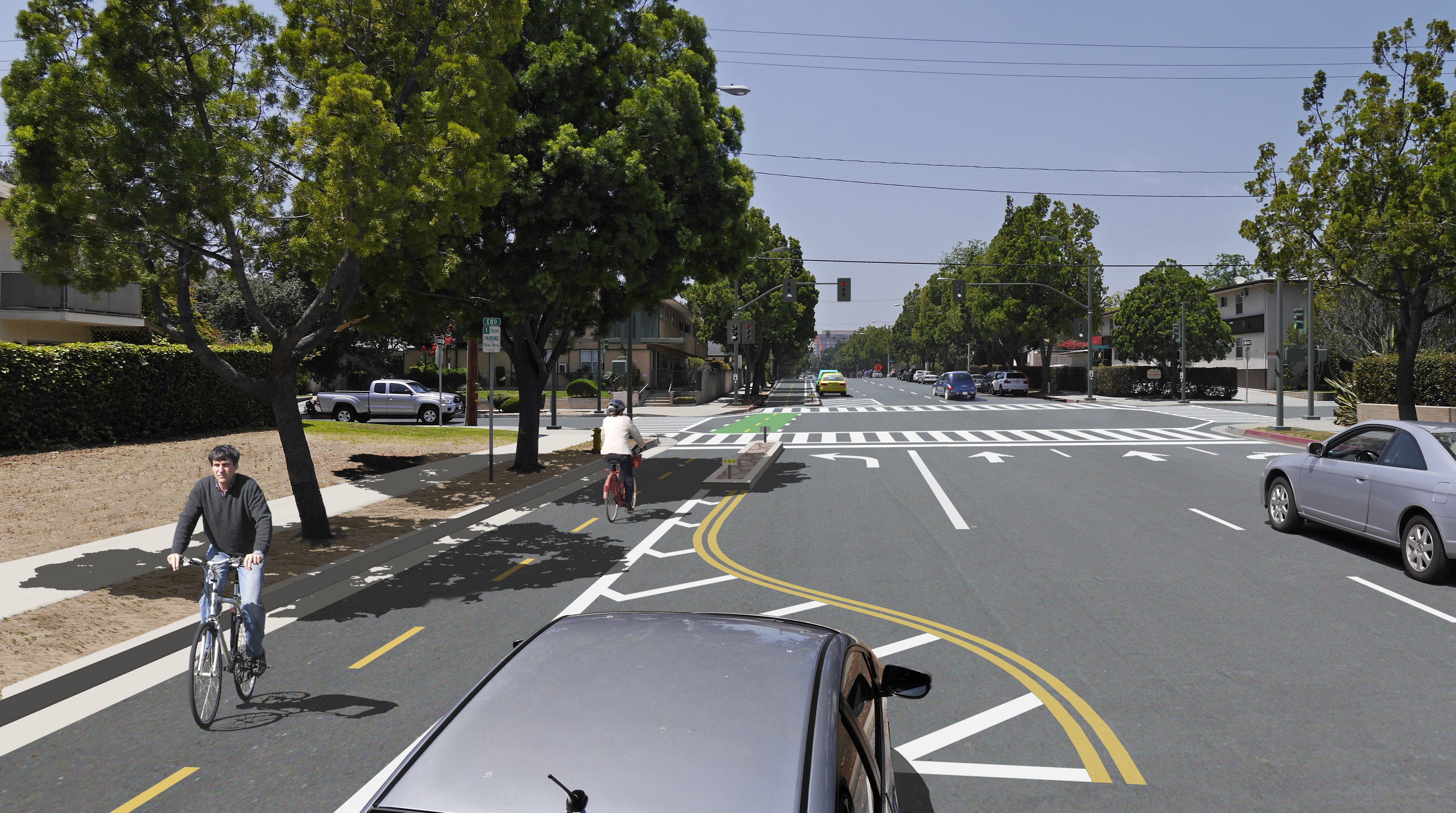 Union Street at Holliston Avenue with proposed two-way Protected Bike Lane