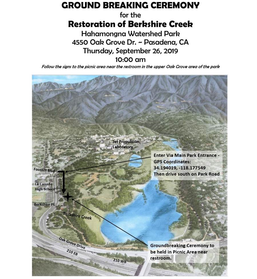 flyer with date, time and location of ground breaking ceremony