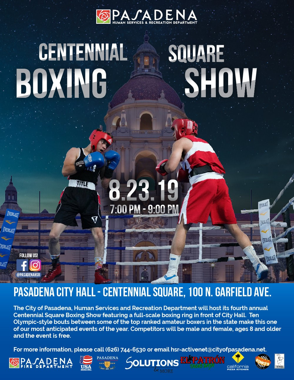 flyer with picture of boxers with date and time of event