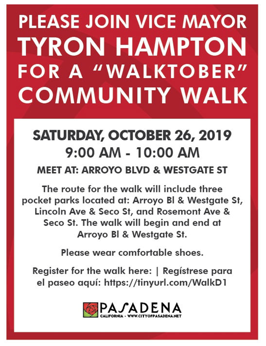 flyer with date, time and location of community walk