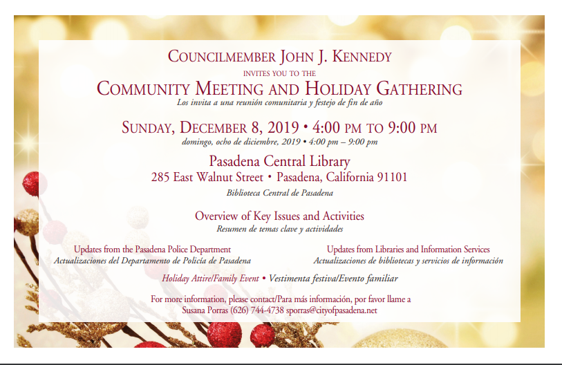 Postcard with date, time and location of holiday meeting