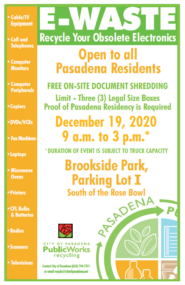 Flyer with date, time and location of ewaste event