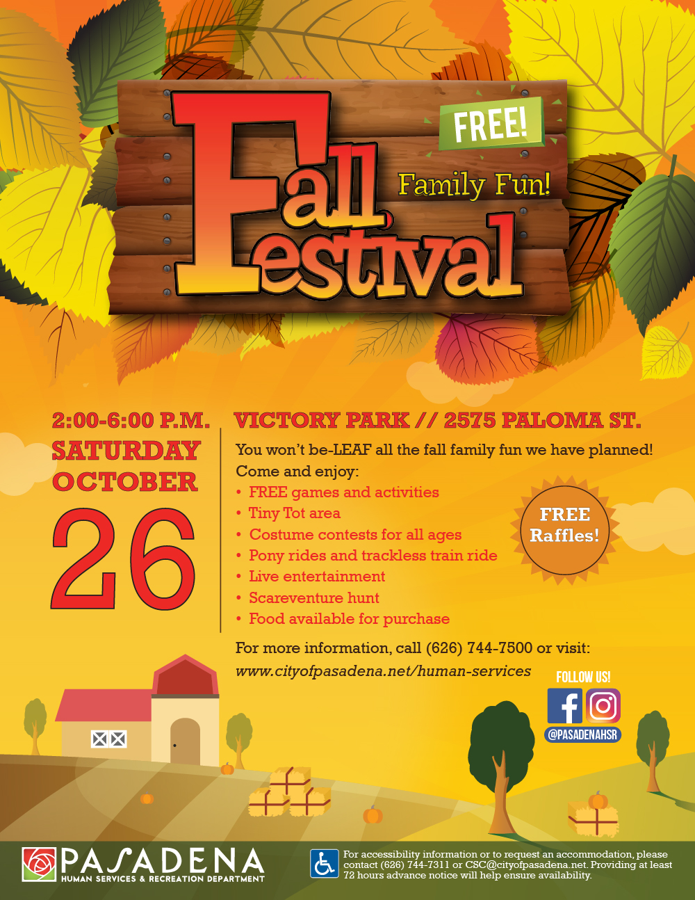 flyer with date, time and location of fall festival