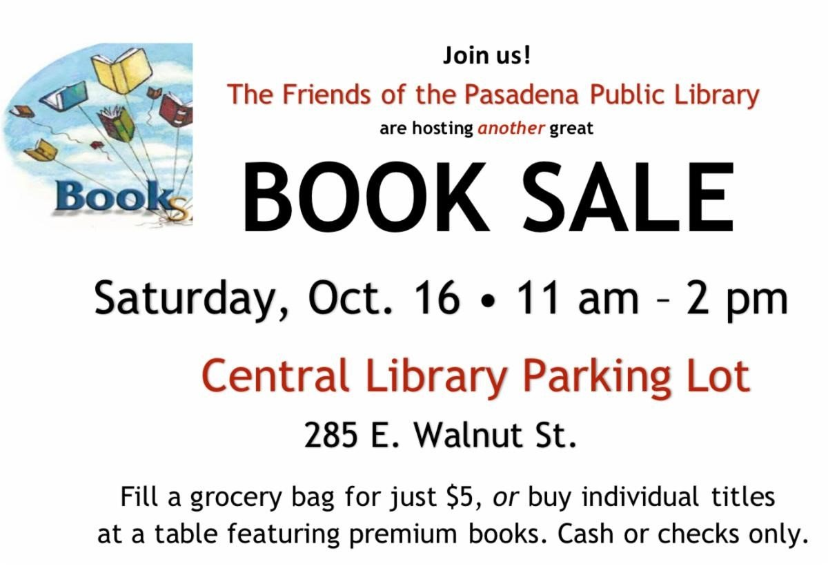 Postcard with Date, time and location of book sale