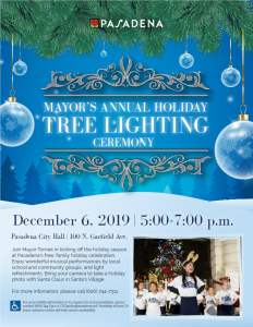 flyer with date, time and location of tree lighting