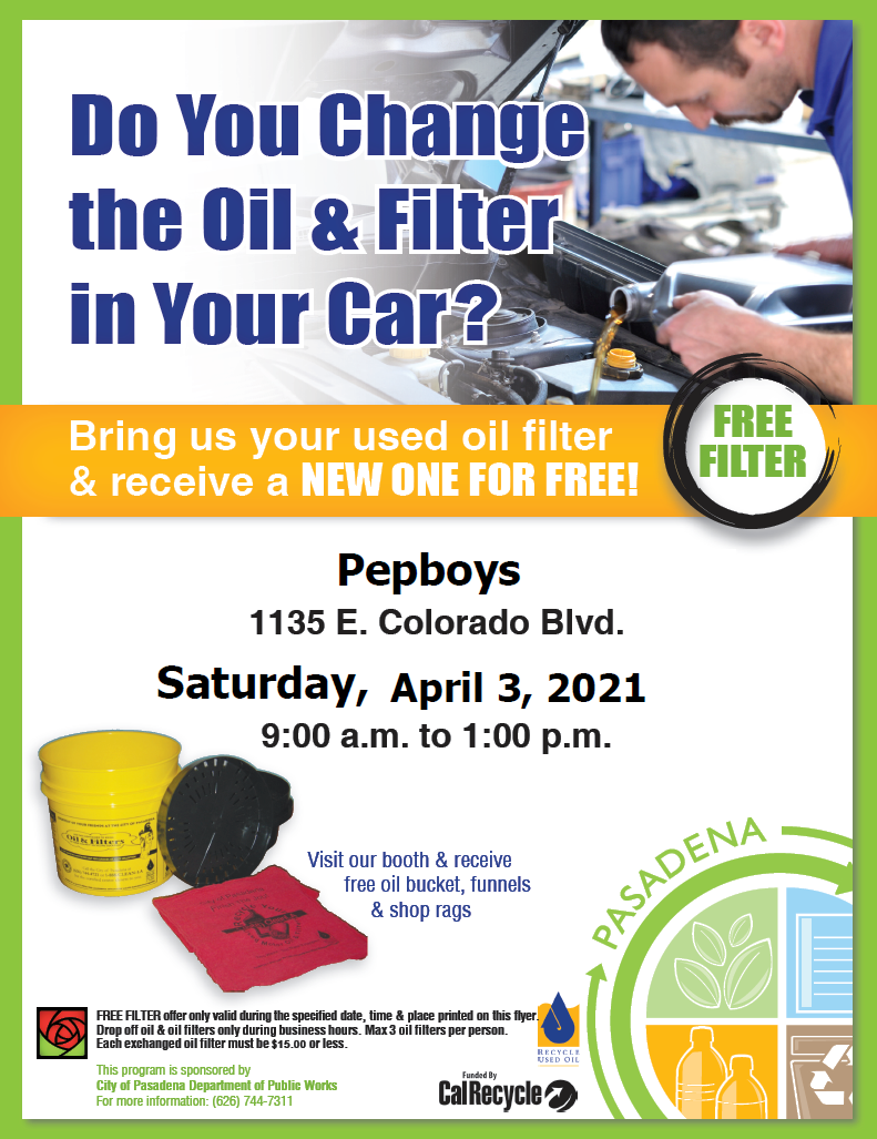 Flyer with date, time and location of oil filter exchange event