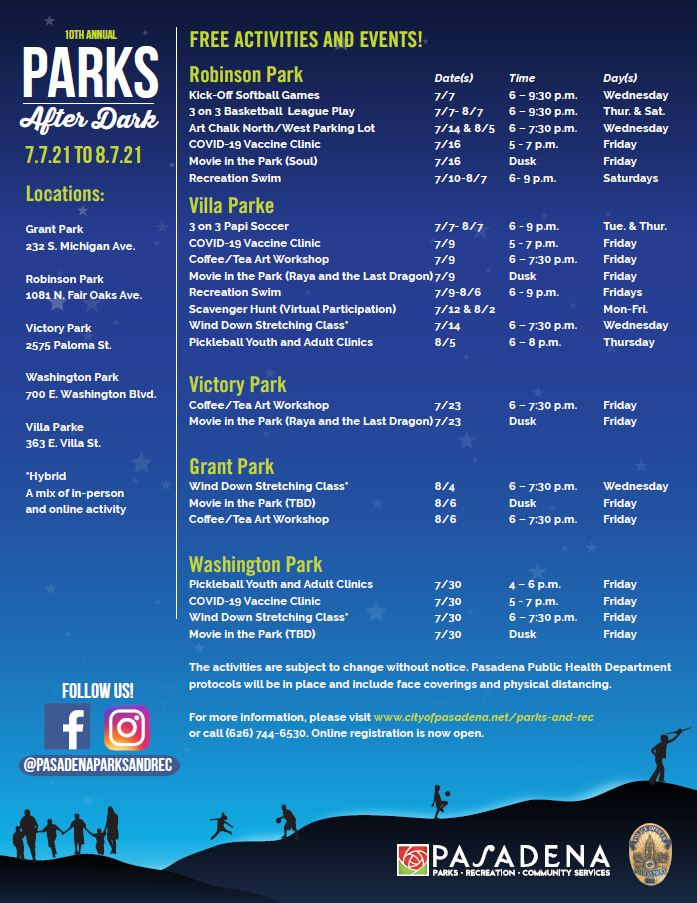 flyers with dates, times and locations of event