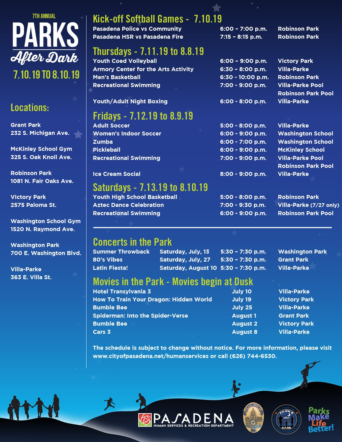 Flyer with event listing, date, time and location