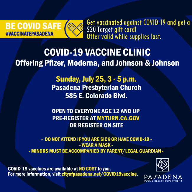 flyer with date, time and location of vaccine clinic
