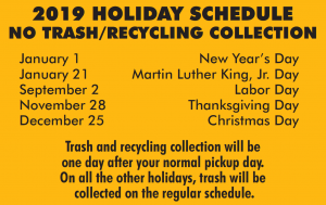 holiday refuse schedule - list of dates