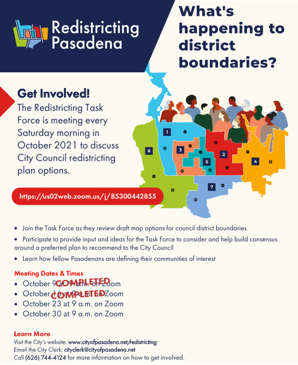 Flyer with date, time and zoom link for redistricting meeting