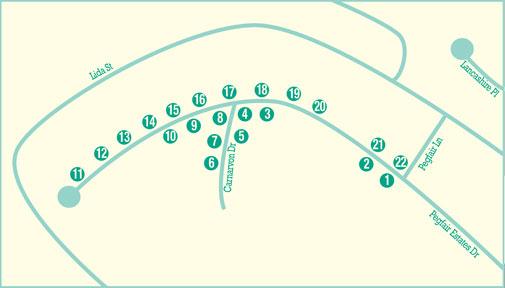 Pegfair Estates Ranch Houses Walking Tour Map